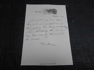 Antique THE LAKE SHORE ON THE LAKE Cleveland Ohio STATIONARY Handwritten Letter