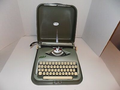Vintage Green Metal Portable Typewriter w/Cover-Cole Steel-Works