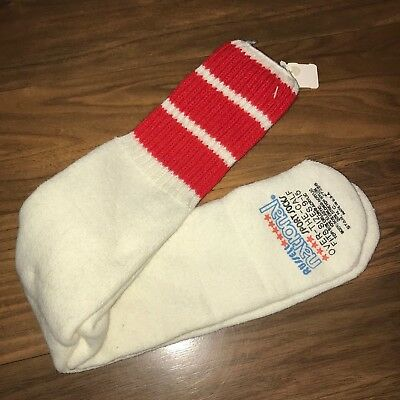NOS Vtg 80s Over The Calf TUBE SOCKS Russell National Red STRIPE Athletic ORLON