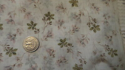 """Antique Cotton Organdy Fabric OLIVE & PINK FLORAL BRANCHES 1 Yd/31"""" Wide"""