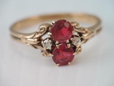 Antique Victorian Solid 10K Rose Gold Diamond & Ruby Red Stone Ring Gorgeous