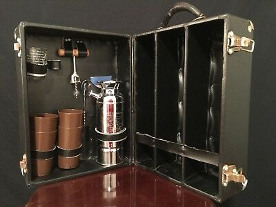 Vintage Portable 3 Bottle Travel Bar w/ Cups Thirst Extinguisher Italy Japan