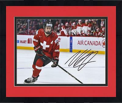 Framed Nico Hischier Devils Signed 8x10 Switzerland 2017 World Junior Champs Pic