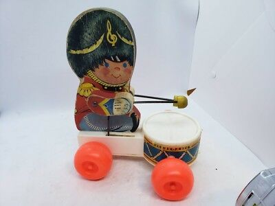 Vintage Fisher-Price Toys Wood Plastic Pull String Drummer Boy Toy Wheels Cute!