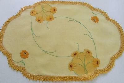 Hand Embroidered Vintage Centre - Yellow Gerbera Daisies - Golden Crochet Edge