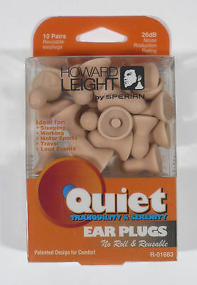 Howard Leight QD1 Quiet Earplugs, Uncorded NO ROLL REUSABLE (PACK OF 10) R01683