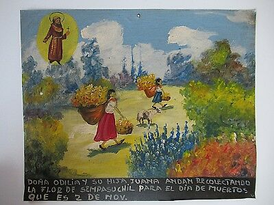 VTG LARGE 1970s MEXICAN HP TIN RETABLO WOMEN PICKING FLOWERS FOR DAY OF THE DEAD