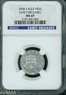 2006 $25 STATUE LIBERTY PLATINUM 1/4 Oz. EAGLE NGC MS69 EARLY RELEASES E.R.