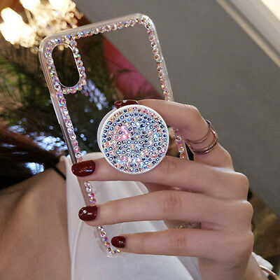 Diamond Rhinestone Airbag Holder Stand Bling Case Cover for iPhone XS Max XR 8+