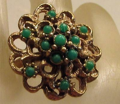 Vintage 60's Flower Chunky Plastic Lucite Bead Cocktail Adjustable Ring Green
