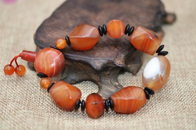 Natural Agate Carvings Irregular Shape Bead Elastic Bracelet