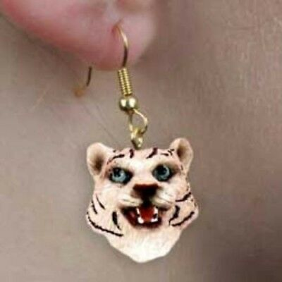Animal Wildlife TIGER WHITE Head Resin Dangle Earrings CLEARANCE