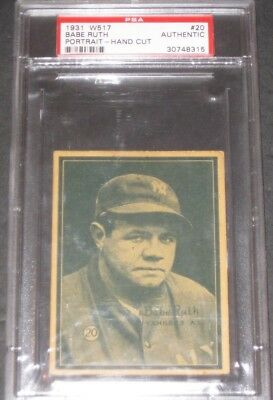 BABE RUTH 1931 W517 Portrait-Hand Cut Baseball Card PSA Authentic #20 Antique $$