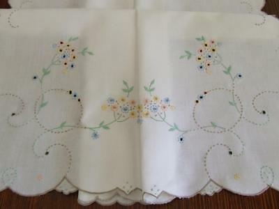 A Lovely Vintage Hand Embroidered Tablecloth - Dainty Tiny Florals - 88 x 84 cm