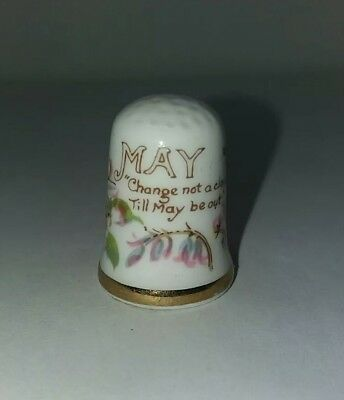 Vintage Bone China Small Thimble May Flowers Sewing Accessory Collectable