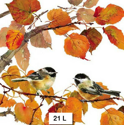 (21) TWO Individual Paper Luncheon Decoupage Napkins - AUTUMN, BIRDS, BRANCH