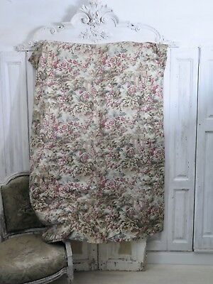 VICTORIAN 19Jhd French ANTIQUE PANEL PLAID Curtain Vorhang ANTIK  Shabby