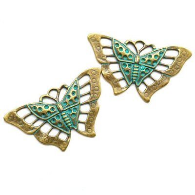 2Pcs Carved Brass Bronze Butterfly Pendant Bead 57x35x3mm K45053