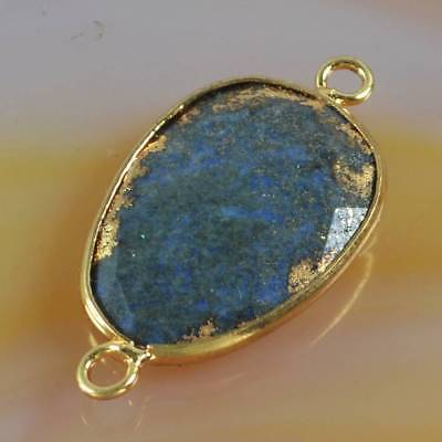 Lapis Lazuli Faceted Bezel Connector Gold Plated B070600
