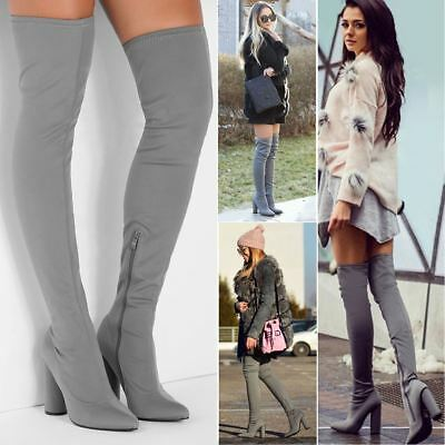 Womens Over The Knee Thigh Boots Stretch Block High Heel Lycra Sexy Leg Size