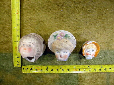 3x excavated vintage victorian painted bisque Doll head age 1860 Hertwig A 11475
