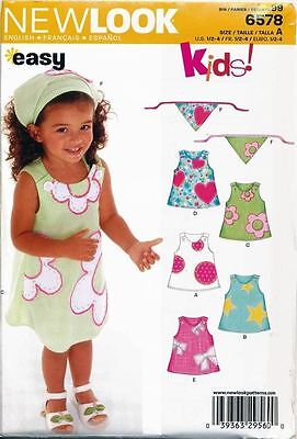New Look Sewing Pattern 6578 Toddlers/Girls ½-4 Easy, Sleeveless, A-Line Dresses