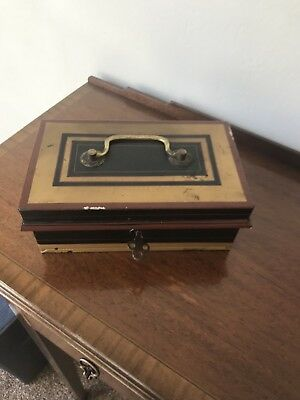 Vintage Double Lever Metal Cash Box with Collapsing Handle Ornate Key