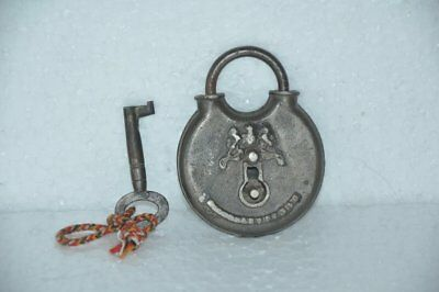 Old Iron Unique Monogram Embossed Round Handcrafted Padlock