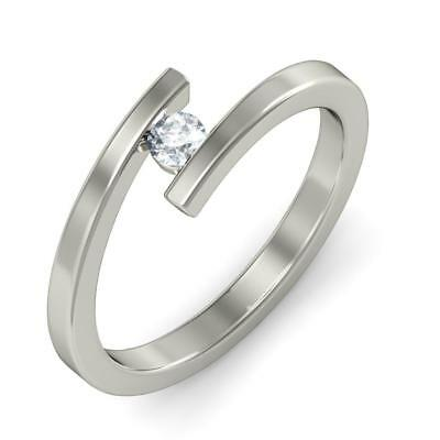 Natural G-H/ Si 0.15 Ct-0.50 Ct Solitaire White Gold 3.5 Grams Women Ring