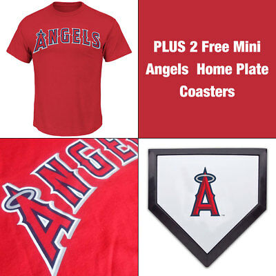 LA Angels Officially Licenced MLB Logo T shirt PLUS 2 Mini Home Plate Coasters