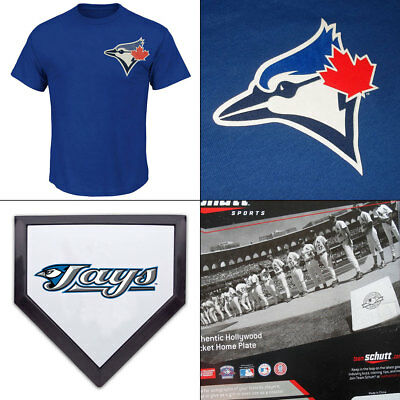 Toronto Blue Jays Licenced MLB Logo T shirt PLUS 2 x Mini Home Plates/Coasters