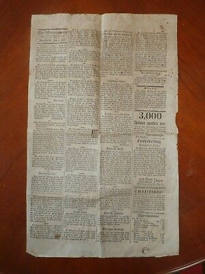 Antique Early 1800's 1825 Central PA Der Correspondent German Newspaper