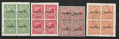 Nauru Sg13/6 1923 Ovpt At Centre Set Used Blocks Of 4