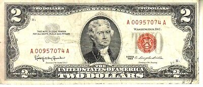 1953   Two Dollar Red Seal GOOD