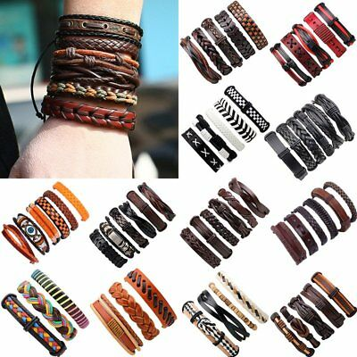 Multilayer Vintage Leather Bracelet Handmade Men Punk Wristband Bangle Cuff Gift