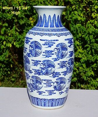 FINE! Large Antique Chinese Blue and White Porcelain Crane Vase Qianlong 18th C