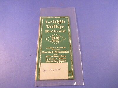 Vintage  Lehigh Valley Railroad Schedule Of Trains Dated April 28, 1940