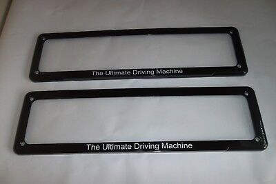 "Suit BMW Number Plate Holder Frame ""The Ultimate Driving Machine"" Small Size x 2"