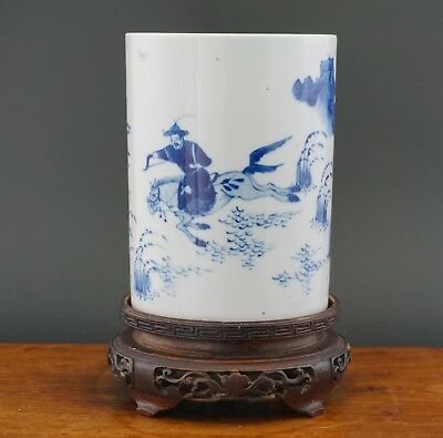 FINE Antique Chinese Blue and White Porcelain Kangxi style Vase Bitong Brush Pot