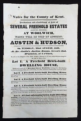 Woolwich 1837 Printed Auction Sale Particulars Austin & Hudson - Beresford St.