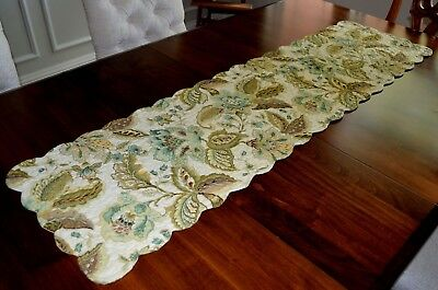 April Cornell Quilted Harvest Table Long Runner Autumn Colors With Aqua Blue