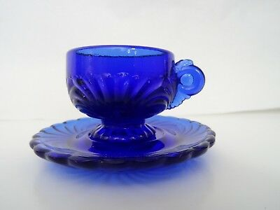 MOSSER GLASS Miniature LINDSEY Cup & Saucer Replacement Mini Child's Cobalt Blue