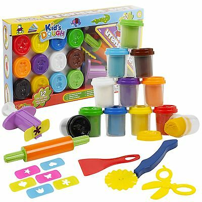 42 Piece Play Dough Craft Utensil Shapers & Tubs Gift Set Childrens Toys Hobby