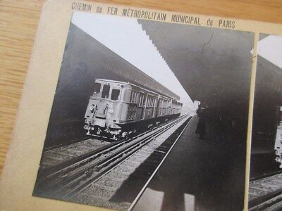 Rare Stereoscope Metro Paris Metropolitain 1925 Locomotive En Station