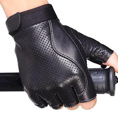 Men's Leather Gloves Fingerless Half Finger Motorcycle Cycling Outdoor Driving