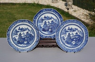 3 x Antique Chinese Blue and White Porcelain Landscape Plate 18th C