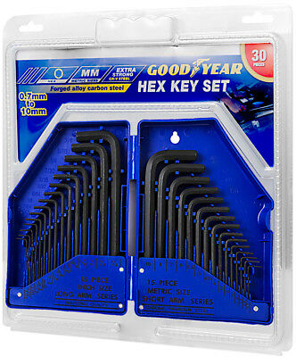 Goodyear 30 pc Metric & Imperial Hex Allen Key Long Set Kit Allan Alan Alen