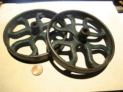 Antique Unknow Maker Pair Of Cast Iron Wheels In Good Antique Condition