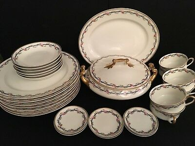 M Redon Limoges White with Rose, Blue & Gold Rim Service - Pick What You Like