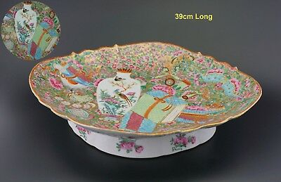 V-LARGE 39cm Antique Chinese Canton Famille Rose Flower Stand Plate Fruit Bowl